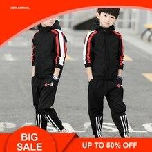 цены на New Boy Hooded Tracksuit Clothes set Kids Spring&Autumn Cotton School Uniform Sport Suit Boys Clothing Sets  в интернет-магазинах