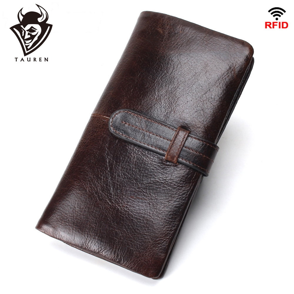 Men's RFID Long Wallet Genuine Leather Clutch Man Walet Brand Luxury Male Purse Long Wallets Coin Purse Phone Pocket For Iphonex