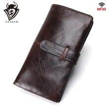 Billetera larga de cuero genuino RFID para hombre, billetera de lujo para hombre, carteras largas, monedero, bolsillo para teléfono iPhone ex