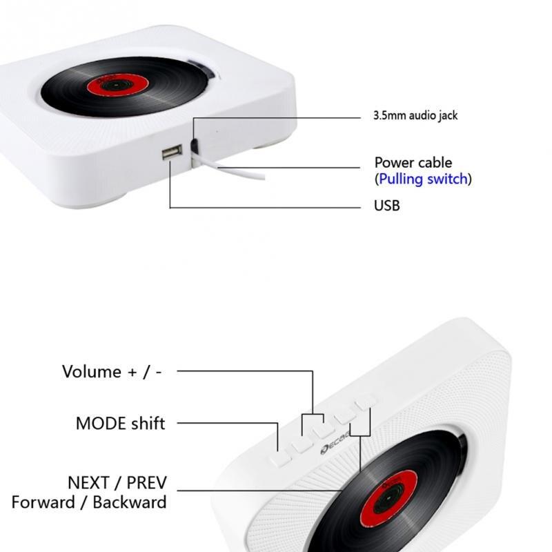 Lecteur CD mural Bluetooth Portable Home Audio Boombox avec télécommande Radio FM haut-parleurs HiFi intégrés USB MP3 - 4