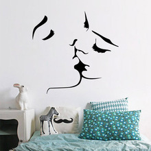 Home Removable Vinyl Love Couple Wallpaper Kissing Lover Man Women Modern Wall Decals Bedroom Decoration