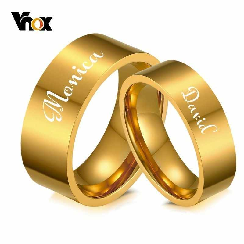 Vnox Free Engraving Name Date Wedding Bands for His and Her Gold Color Stainless Steel Alliance Anel Women Man Love Gift