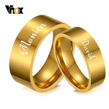 d5a1c526bf Vnox Free Engraving Name Date Wedding Bands for His and Her Gold Color  Stainless Steel Alliance Anel Women Man Love Gift