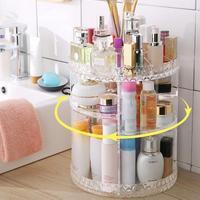 AUGFKUN DIY 360 Degre Rotatable Acrylic Cosmetic Storage Box Transparent Cosmetic Display Box Detachable Makeup Beauty Organizer