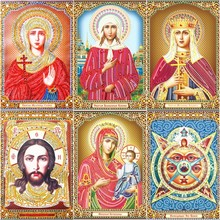 Huacan Special Shaped Religious Diamond Embroidery Bead DIY Painting Cross Stitch People 3D Mosaic Picture Home Decor