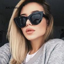 Nowe modne okulary w stylu retro kobiety marka projektant Vintage kocie oko czarne okulary kobieta pani UV400 óculos tanie tanio AKLFHNC Z tworzywa sztucznego Cat eye Lustro Antyrefleksyjną Dla dorosłych Poliwęglan 63mm 52mm