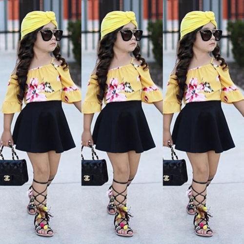 2019 Toddler Girl 2Pcs Kids Baby Girls Yellow Flower Off Shoulder Top Black Skirt Dress Outfit Summer Children Clothes Set