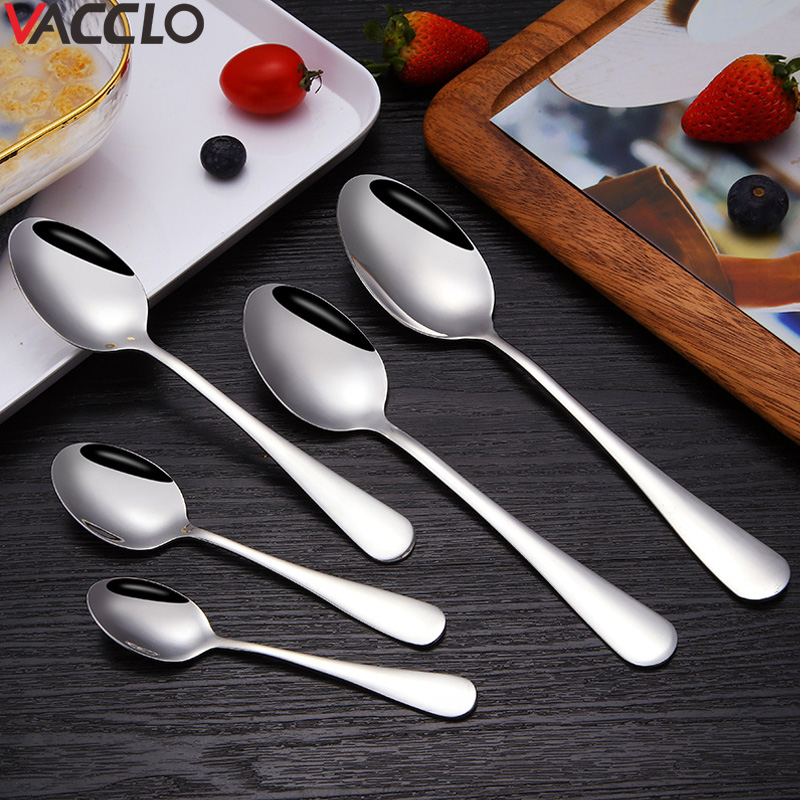 Vacclo 1pc Sharp Spoon Stainless Steel Tableware Tea Spoon Cuillere Cucharas <font><b>Colher</b></font> Children's Coffee Spoon Drinking Tools image