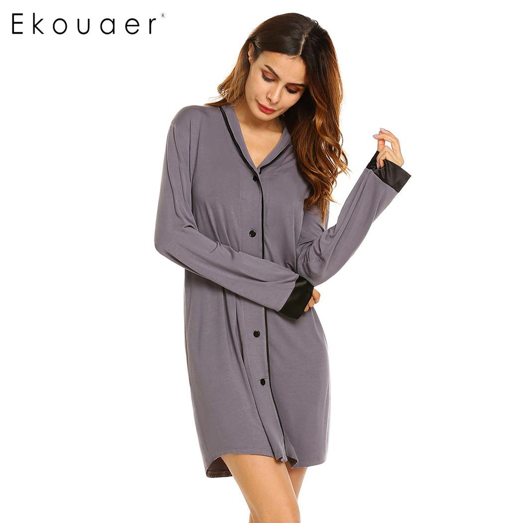 Ekouaer Sexy Nightshirt Sleepwear Dress Women Soft Long Sleeve   Nightgown   Button-down   Sleepshirt   Dress Female Nighties