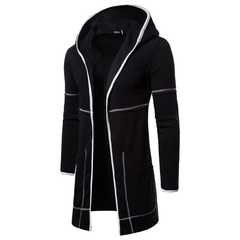 Knitted-Cardigan T-Coat Trench Long-Sleeve Men's Casual Hot Patchwork Fashion Zipper