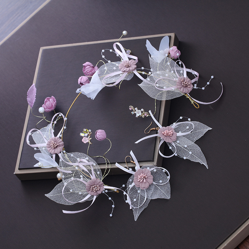 Artificial Fabric Flower Headband Yarn Floral Headpiece Hair Accessories Wedding Bridal Princess Headdress with Hook Earrings