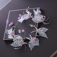 Artificial Fabric Flower Headband Yarn Floral Headpiece Hair Accessories Wedding Bridal Princess Headdress with Hook Earrings