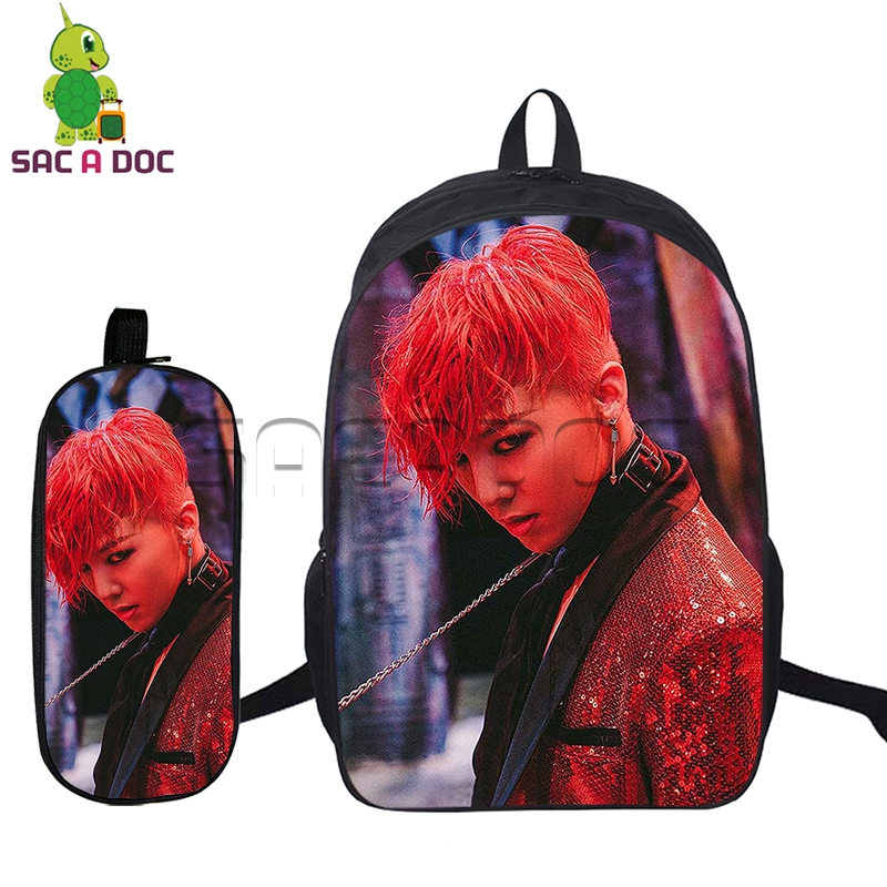 2 Pcs/set BIGBANG Backpacks for Teenage Boys Girls Idol G dragon GD T.O.P Printed School Bags Fashion Backpacks Kids Bookbag