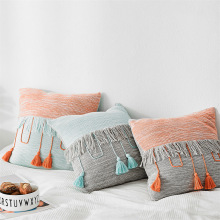 Nordic Cushion Cover Cotton Blue Gray Patchwork Tassels Throw Pillow Case For Sofa Living Room Bedroom Home Decorative Pillows цены