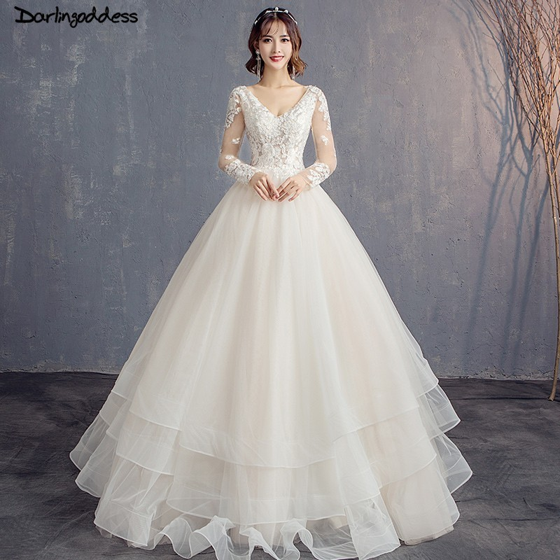 Wedding Gowns With Ruffles: Elegant Ball Gown Champagne Wedding Dresses 2019 Backless