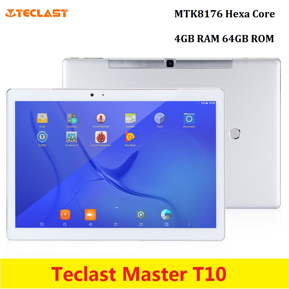 Teclast Master T10 tablette PC 10.1 pouces Android 7.0 MTK8176 Hexa Core 1.7 GHz 4 GB RAM 64 GB ROM empreinte digitale double WiFi OTG tablettes