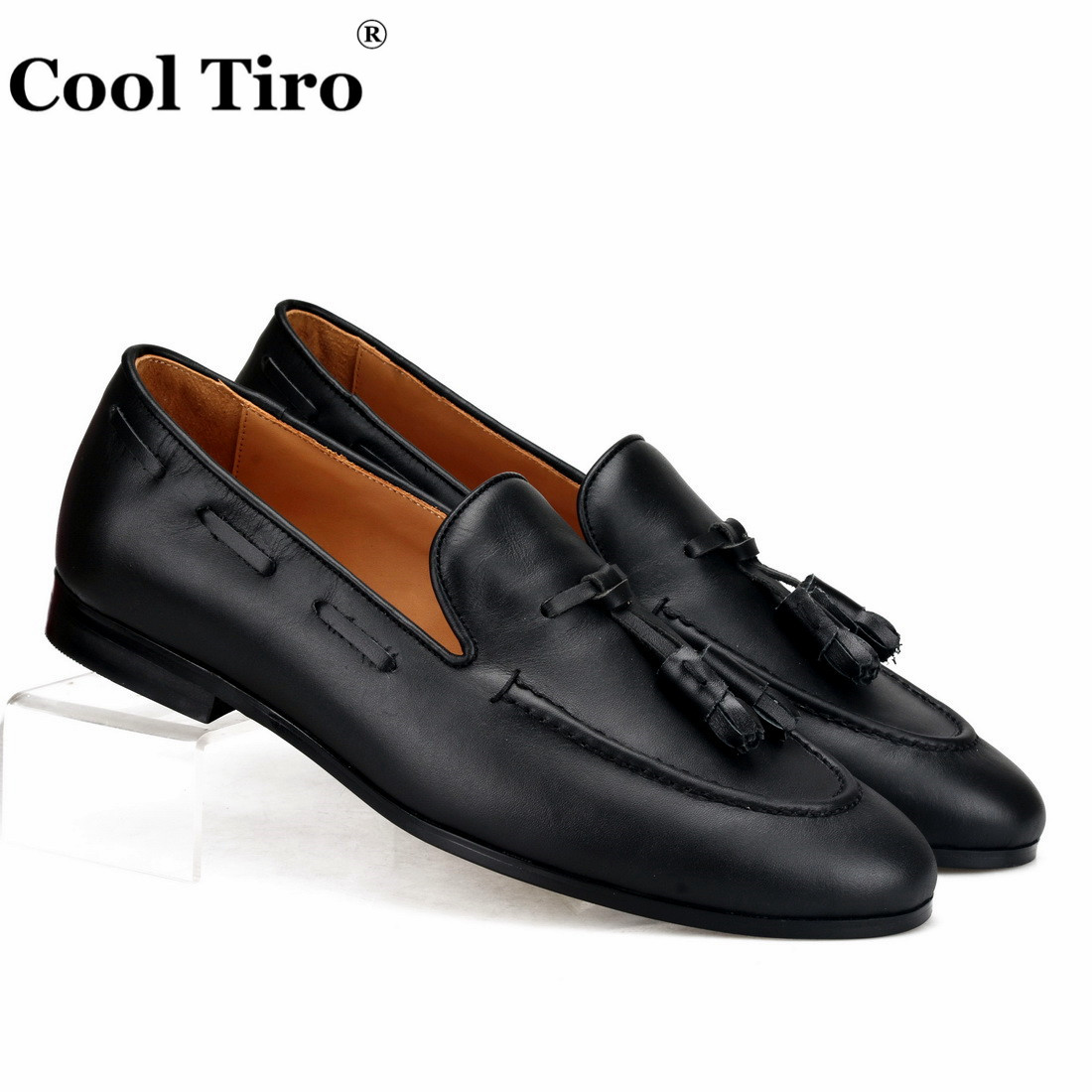 Cool Tiro Black Calfskin Loafers Men s Moccasins Slippers With Tassels Casual Shoes Wedding Party Dress