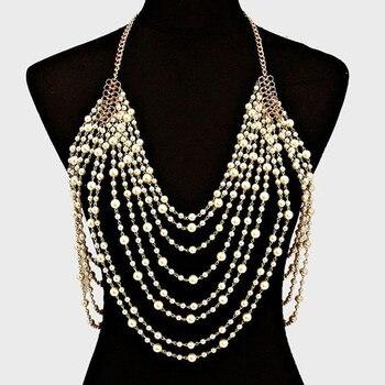 37992538982f Collar de perlas grandes de múltiples capas bohemio para mujeres gruesas  cadenas de oro collar gargantilla