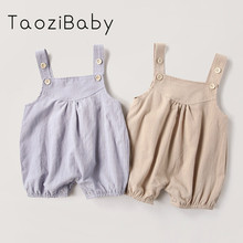 9751b7518 2018 New Kids Summer Clothing Baby Girls Suspenders Romper Jumpsuit Boy  Button Neutral Climb Clothes Baby