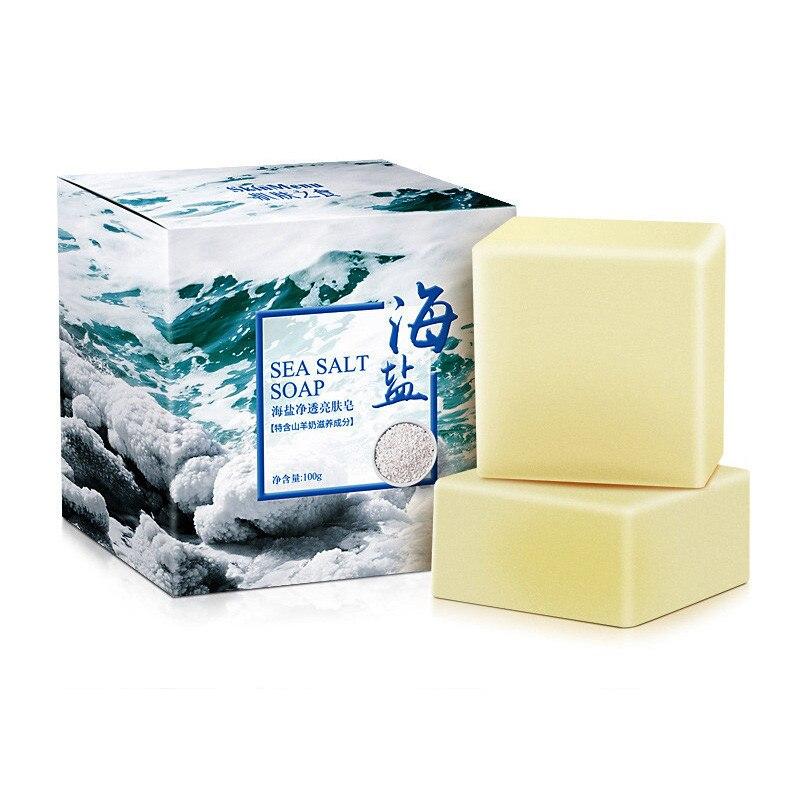 1 Pc 100g Meer Salz Seife Körper Reiniger Entfernung Pickel Poren Akne Behandlung Ziege Milch Feuchtigkeitsspendende Handarbeit Gesicht Waschen Seife Hautpflege