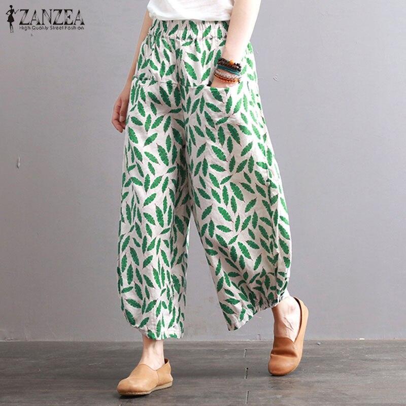 Plus SizeWomen Wide Leg Pants ZANZEA  Cotton Linen Harem Pants Loose Casual Elastic Waist Trousers Baggy Long Pantalon Femme