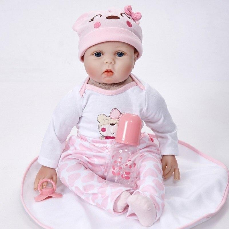 Poupée Reborn 55 cm Silicone souple Reborn bébé poupées vinyle jouets grandes poupées pour filles 3-7 ans bébé poupées avec Blouse tissu