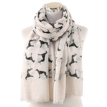 OLOME Fashion Women Scarf Lady Womens Long Animal Dachshund Dog Print S