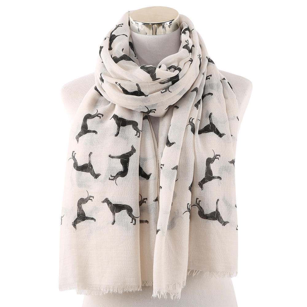 OLOME Fashion Women   Scarf   Lady Womens Long Animal Dog Print   Scarf     Wraps   Shawl Soft   Scarves   Female