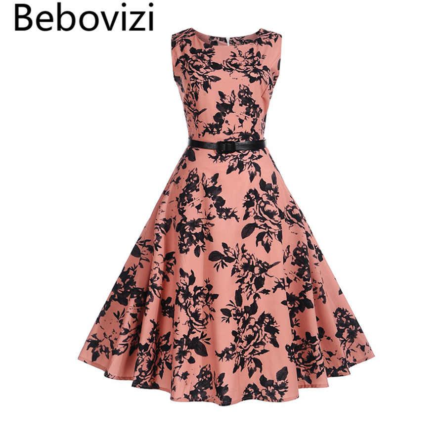 eefddafa9d71 Bebovizi 2018 New Summer Women Dress Hepburn Audrey Vestidos Sleeveless  Seasons Style Clothing Retro 50s Casual