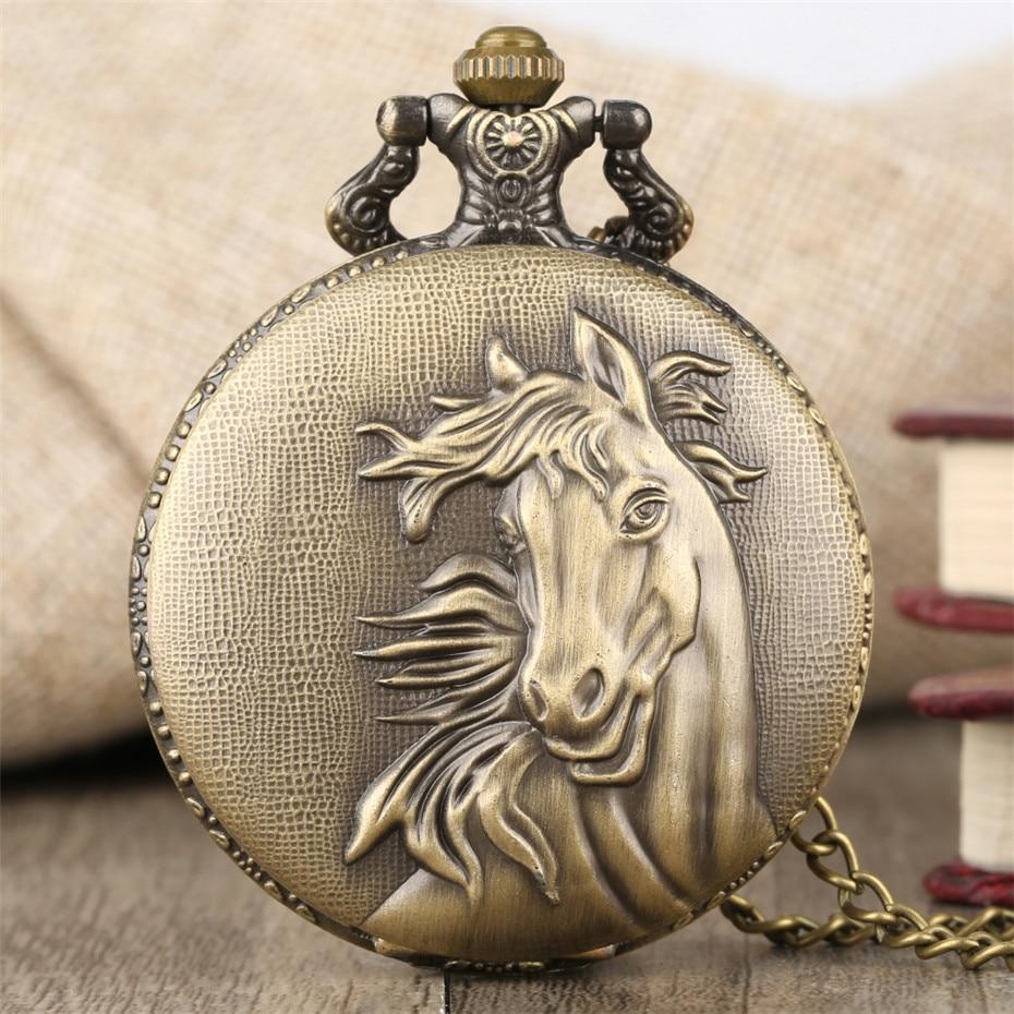 433e6eda304 Cavalo Hunter Completa Pingente de Bronze do vintage Relógio de Bolso de  Quartzo Retro Relógio com Colar Fob Cadeia Melhor Presente para Mulheres  Dos Homens ...