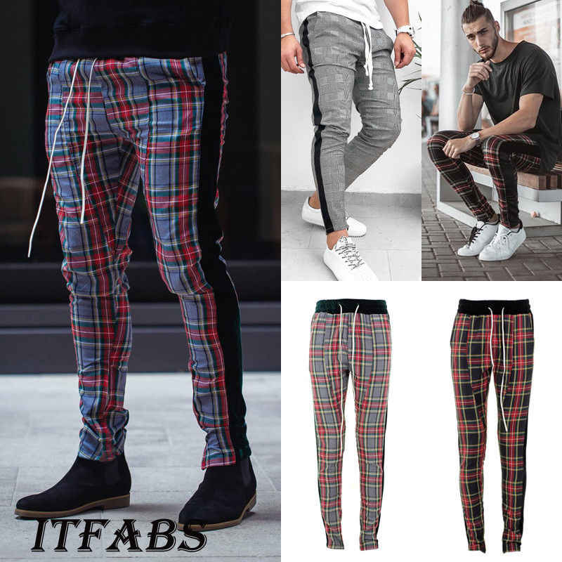 2019 Newest Hot Men Running Pants Gym Sport Trousers Tracksuit Bottoms Skinny Sweat Plaid Pant Fashion Fitness