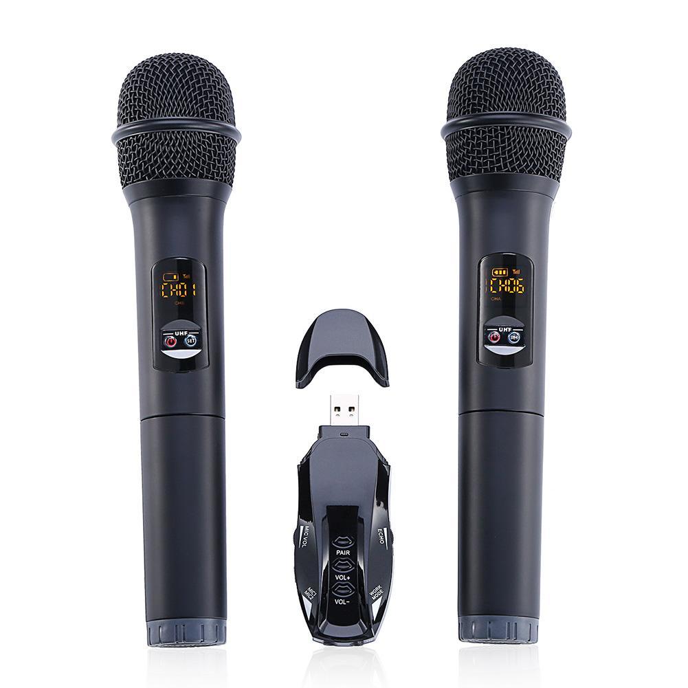 Professional Wireless Bluetooth Wireless Double Microphone Speaker Handheld Condenser Karaoke Lightweight LINE-IN Port With Box