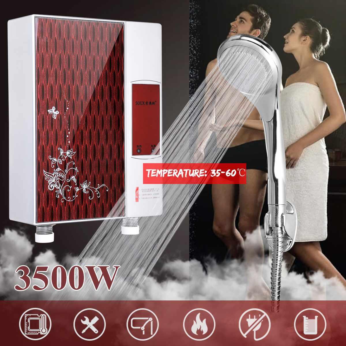 220 V 3600 W Mini Senza Serbatoio Instant Elettrico Riscaldatore di Acqua Calda Caldaia Bagno Set Doccia di Acqua di Riscaldamento a Temperatura Eccessiva di protezione
