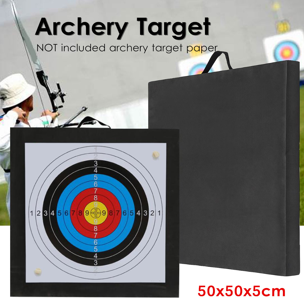 Y Target High Density EVA Foam Shooting Practice Board Outdoor Sport Hunting Accessories RecurveCrossbow 50x50x5cm Black