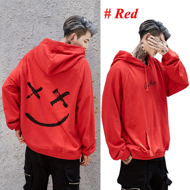2019 New Men Hoodies Sweatshirts Smile Print Headwear Hoodie Hip Hop Streetwear Clothing Us size Plus Size 3XL