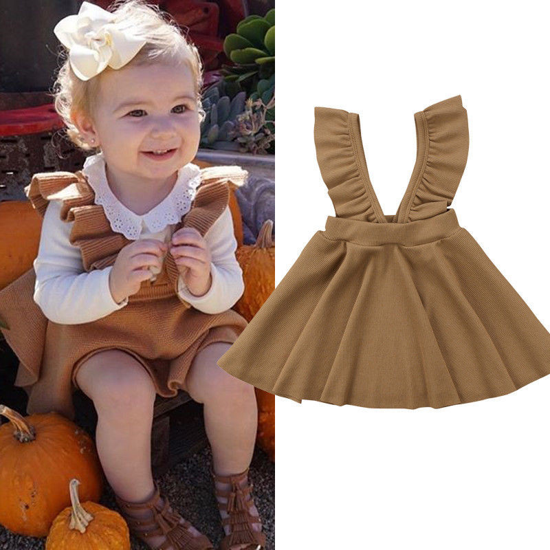 Fashion Cute Toddler Kids Baby Girls Princess Flower Wool Blend Skirt Pageant Party Tutu Strap Casual Suspender Ruffle Skirts