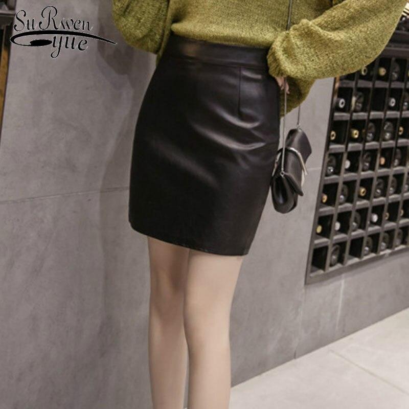 a33d91780 2018 moda cuero PU sexy mujer falda negro alta cintura Otoño Invierno  señoras faldas mujeres lápiz elegante Mini falda 1635 50
