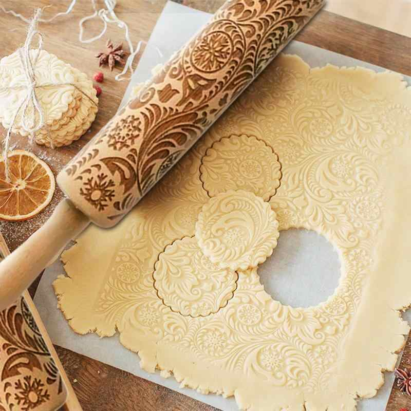 Pattern Printing Rolling Pin Engraving Embossed Biscuit Dough Stick Kneading Tool Cake Dough Engraved Roller