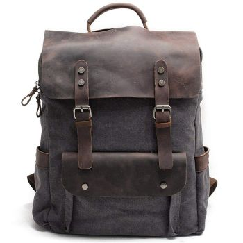 Men Leather Canvas Rucksack Laptop Backpack College School Bookbag Dark Gray