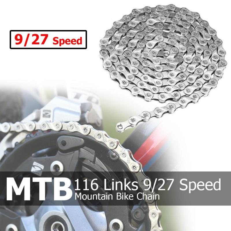 Bicycle Chain 116 Links 9/27 Speed MTB Mountain <font><b>Bike</b></font> Cycling Steel Chain Bicycle <font><b>Giant</b></font> <font><b>Bike</b></font> <font><b>Accessories</b></font> Cycling Parts image