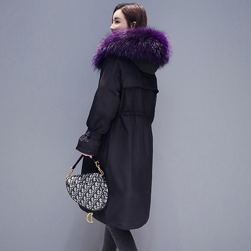 Parka À Manteaux Matelassée La 2018 Veste Chaud Col Outwear Mince Taille Femmes Fourrure D'hiver Okq065 Femme Manteau black De Gray Longue Capuchon Réel Plus pCqxC6a