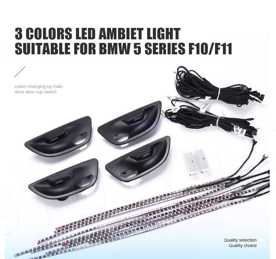 Pour BMW F10/F11 Mise À Niveau 3 Couleurs Intérieur led Atmosphère Ambiante Lampe Lumière Rayures