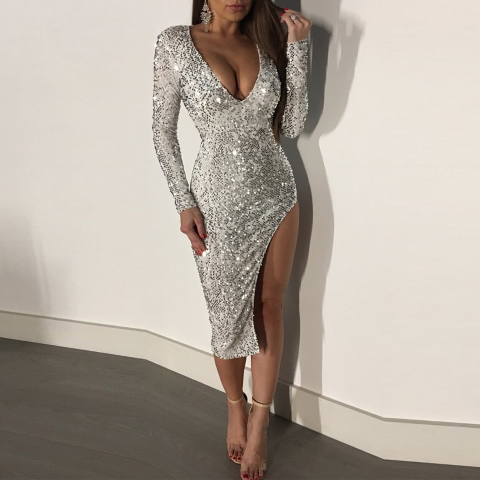 Karlofea Women Elegant Sequin Midi Dress Sexy V Neck Birthday Party Dress Long Sleeve Split Evening Partywear Winter New Dresses Buy At The Price Of 20 07 In Aliexpress Com Imall Com