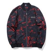 Camouflage Red Green Jacket Baseball Men Fashion Design Autumn Winter Windbreak Zipper Bomber Jacket Men Asia Size 4XL 5XL