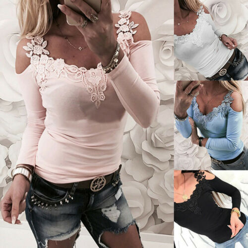 Fashion Women's Spring Lace Spliced Long Sleeve   Shirt   Cotton Casual Top   Blouse     Shirt