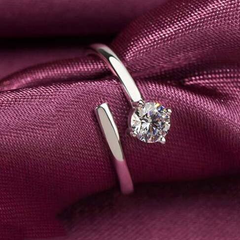 925 пробы серебро четыре когтя цирконовые разомкнутые кольца для Для женщин Мода гипоаллергенно стерлингового-серебро-ювелирные изделия