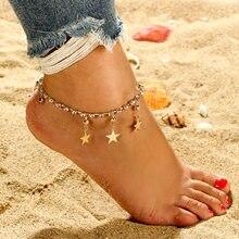 7e98591c2588 Mujeres de pulsera de moda de plata y de oro color moda praia pierna cadena  sandalias pies descalzos pulsera tobillera mujer joy.