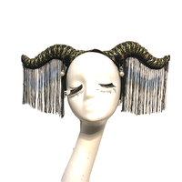 Gothic Headpiece for Cosplay Hair Accessories with Tassels Party Halloween Horn Headband Steampunk Photograph Headwear