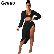 Genuo 2 Piece Set Club Outfit Women Long Sleeve Crop Top and High Waist Irregular Skirt Two Piece Set Party Nightclub Outwear