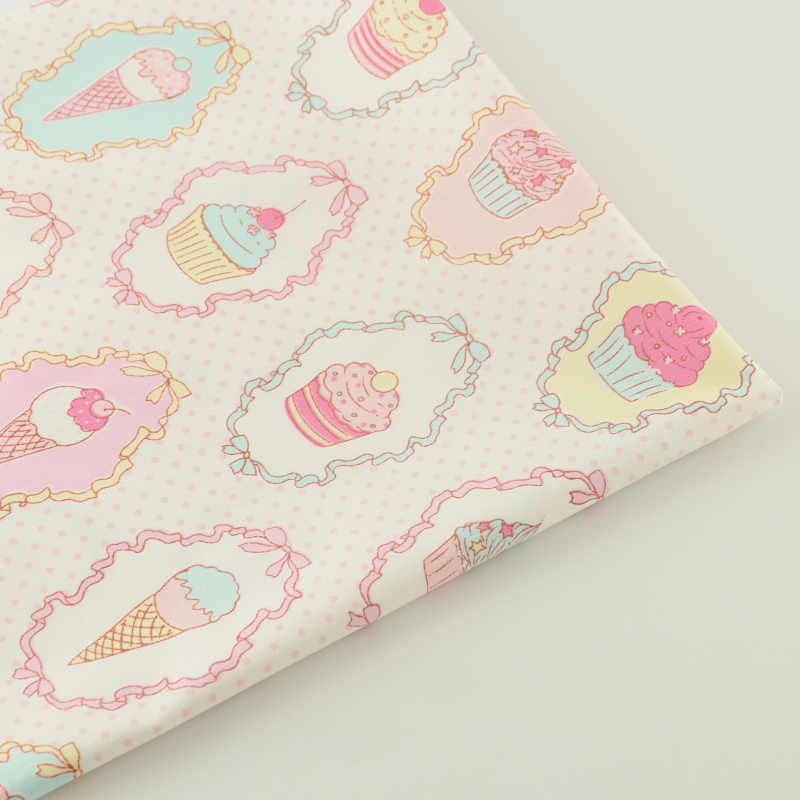 Textile Sewing Cloth Fabrics Pink Printed Cake Ice-cream Designs Cotton Fabric Quilting Tela Bedding Scrapbooking Decoration